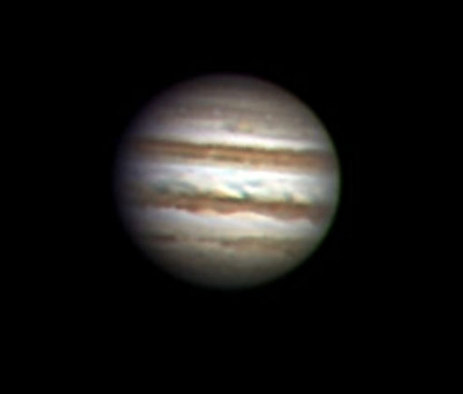An astrophoto of Jupiter taken in 2016 by Ernie Rossi.