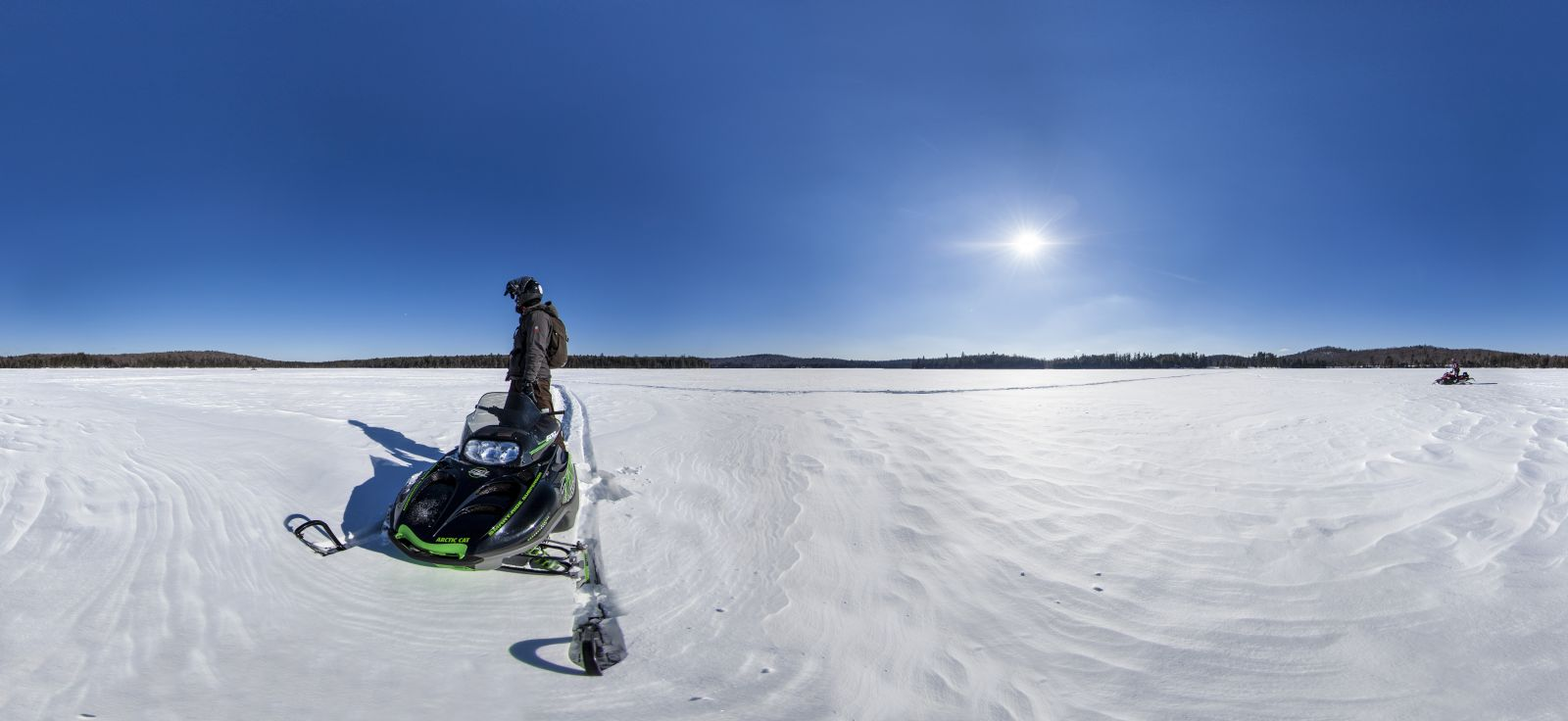 Horseshoe Lake on a snowmobile.