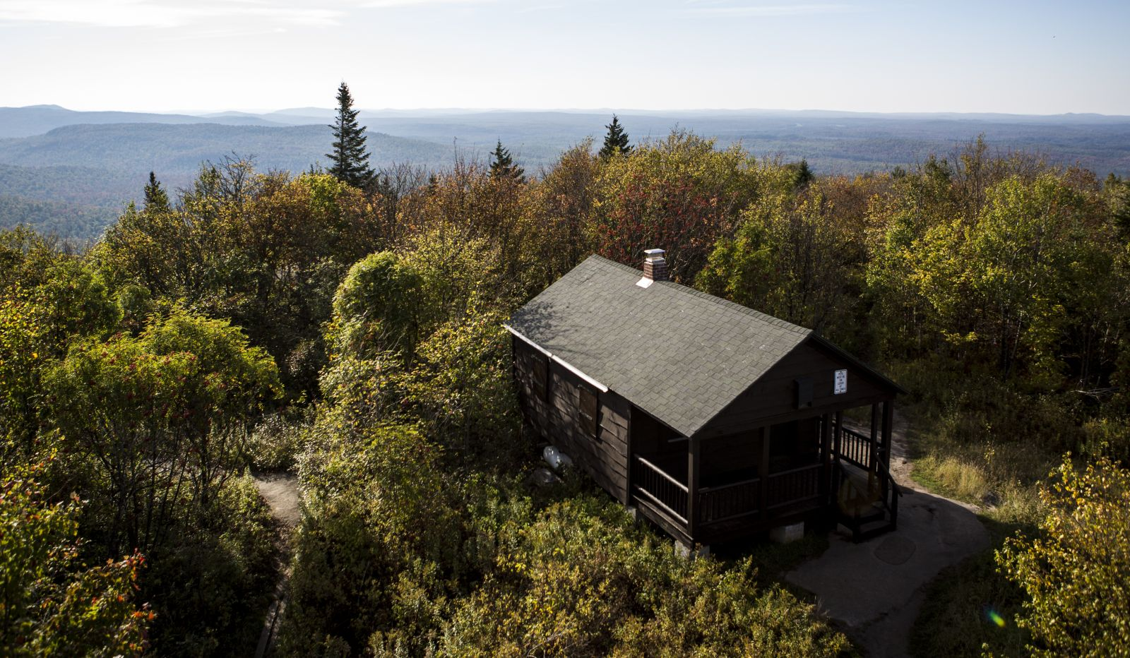 The ranger cabin as seen from the top of the fire tower.