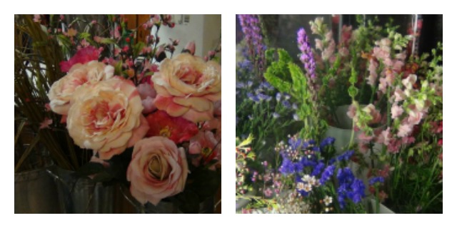 Not the usual roses: these old-fashioned types might be just the right choice. And the wildflowers on the right are classic additions.