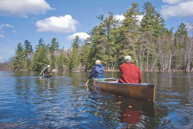 Paddling the Raquette River at high spring water level, near Coreys, Franklin Co., Adirondack Park & Forest. (Photo by Mark Bowie, timesunion.com)