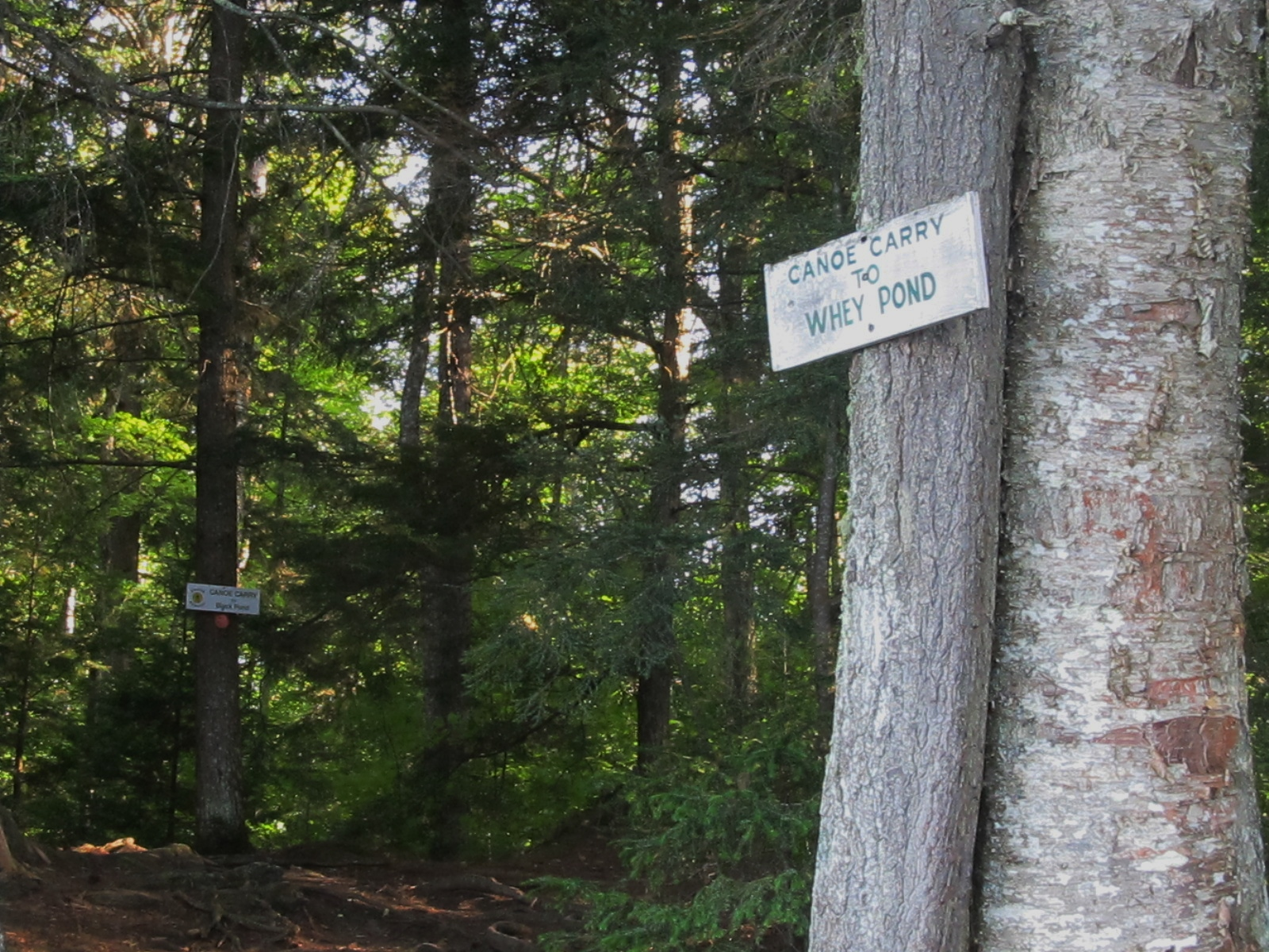 Portage signs in Copperas to Whey Pond and Black Pond