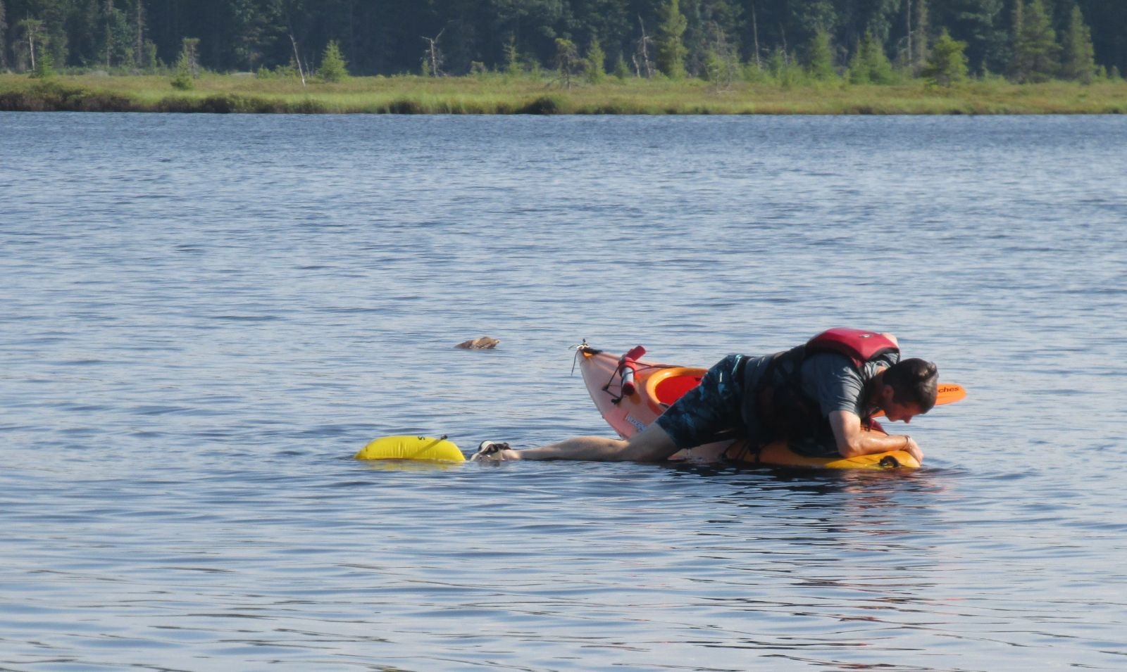 Jim practicing his solo rescue!  It is not easy!