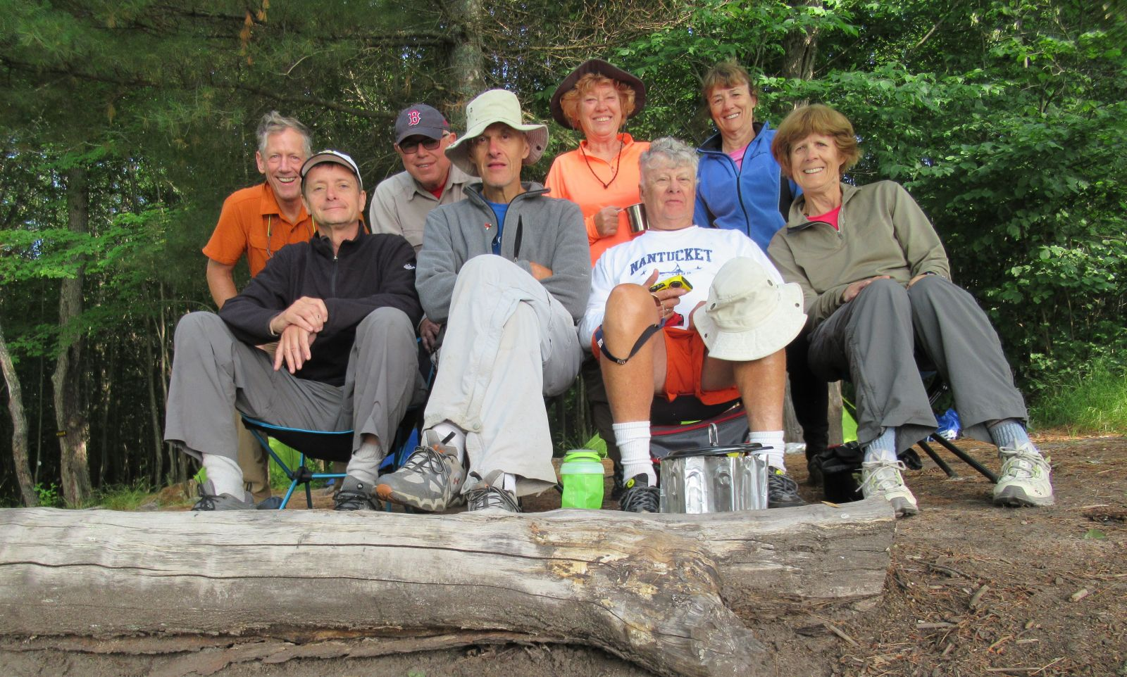 Low's Lake campers, July 2018, included (back row, left to right): John, Gerry, Peggy, Lisa. Front row, Jim, Dave, Bill, and Alison. We are all hooked on wilderness camping!