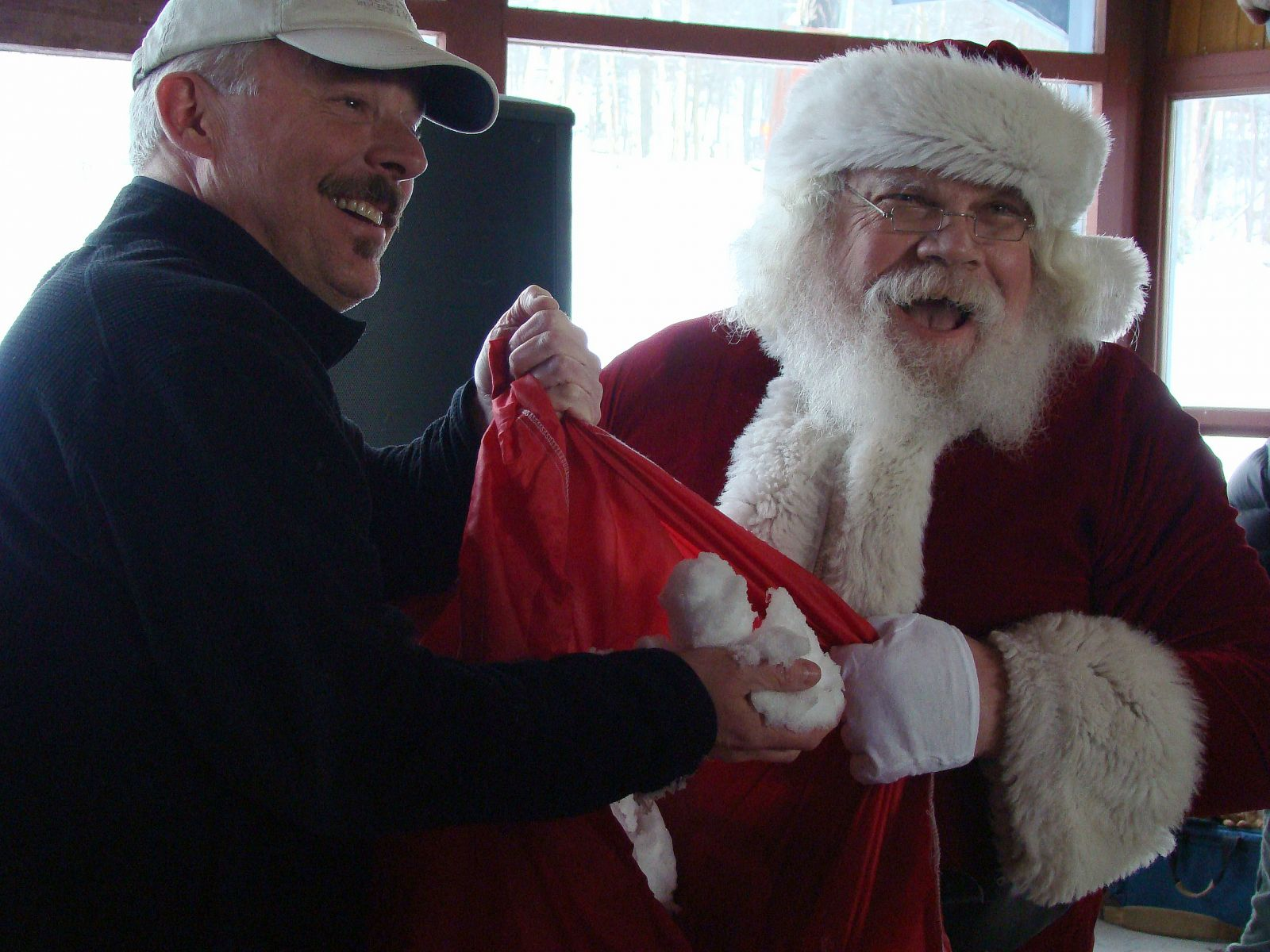 Santa giving Jim the gift of snow for Christmas (JimCookieLanthier photo)