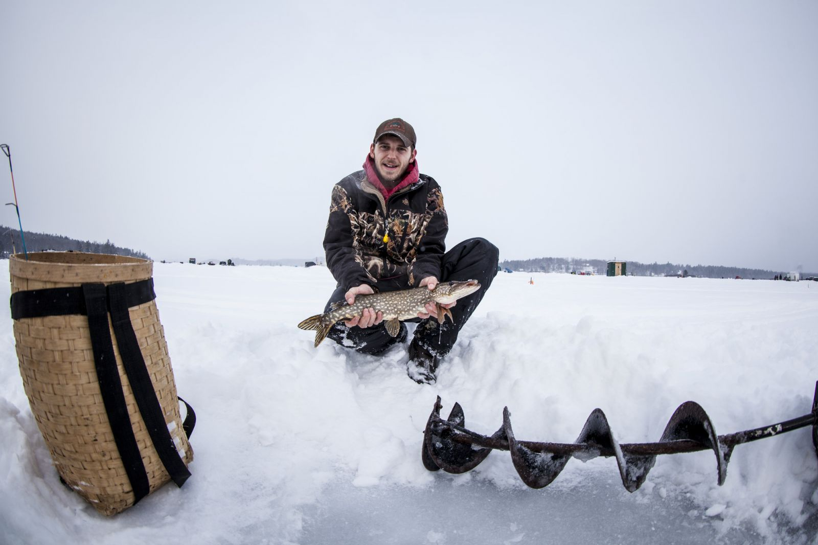 Setting up during the Norther Challenge Ice Fishing Derby.